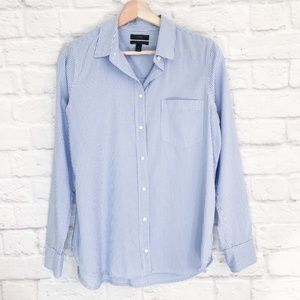 J. Crew Boy Shirt Striped Cotton-Tencel Oxford